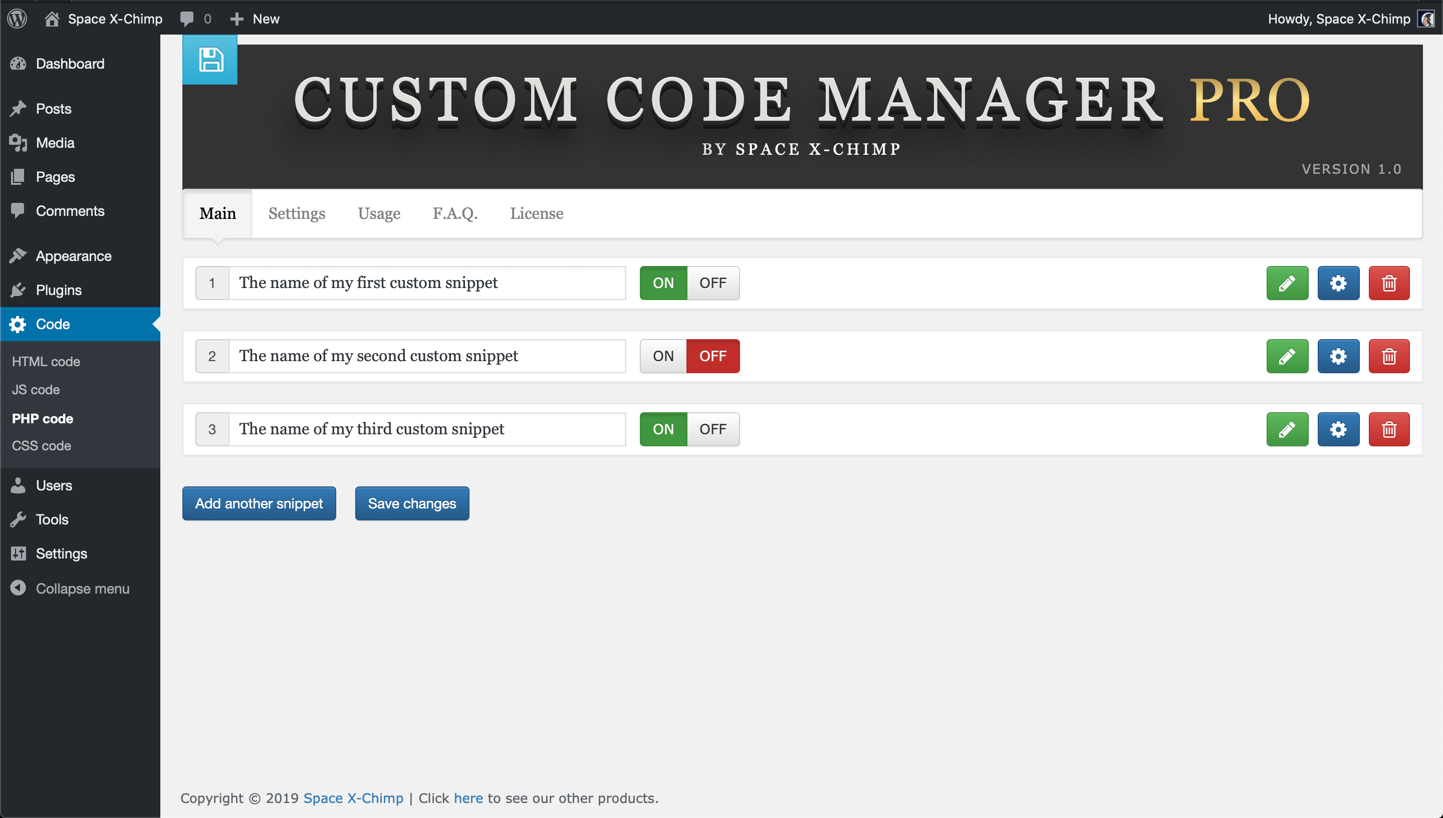 Custom Code Manager PRO